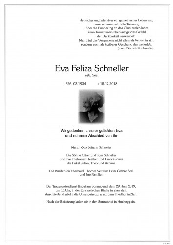 Eva Feliza Schneller geb. Seel