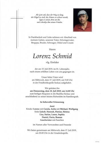 Lorenz Schmid, vlg. Einöder
