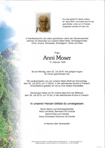 Annemarie Moser, geb. Erlacher