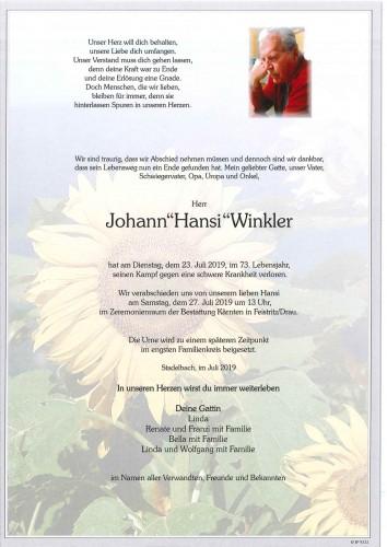 """Johann """"Hansi"""" Winkler"""