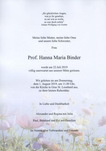 Prof. Hanna Maria Binder geb.Pirker