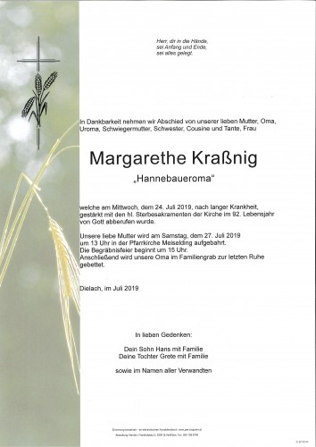 Margarethe Kraßnig geb. Planegger vlg. Hannebauer in Dielach