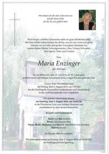 Maria Enzinger geb. Rattinger