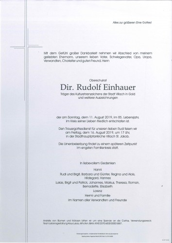 Oberschulrat Dir. Rudolf Einhauer
