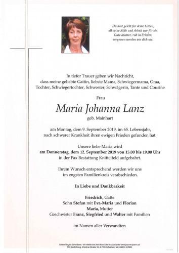 Maria Johanna Lanz geb. Mainhart
