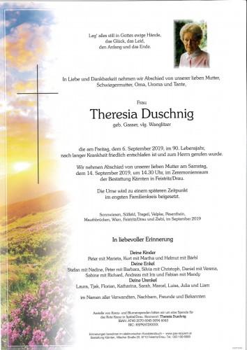 Theresia Duschnig, geb. Gasser vlg. Wanglitzer