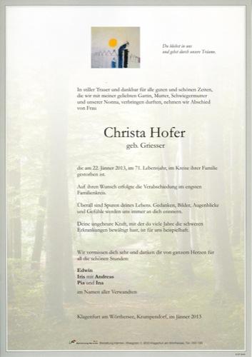 HOFER Christine Anna