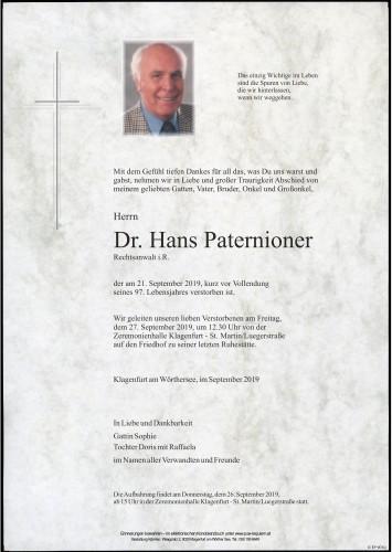 Dr. Hans Paternioner