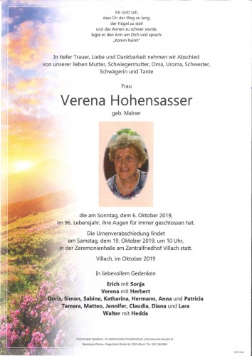 Verena Hohensasser geb. Malner