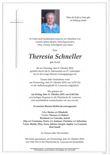 Theresia Schneller geb. Sundl