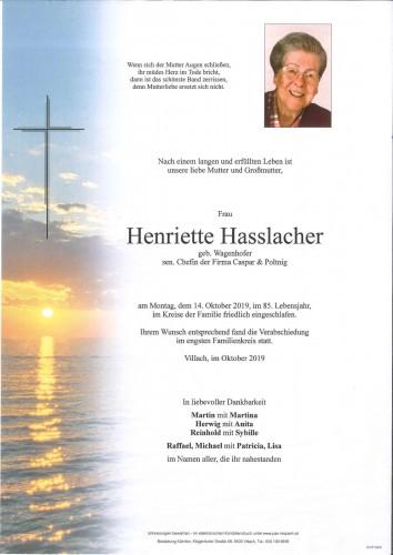 Henriette Hasslacher geb. Wagenhofer