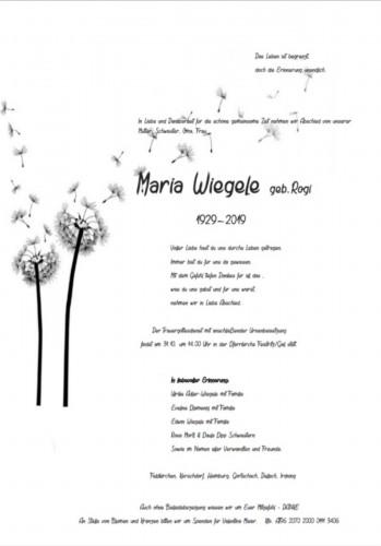 Maria Wiegele geb. Rogi