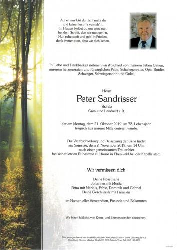 Peter Sandrisser,  Kohle  Gast- und Landwirt i. R.