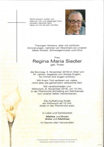 Regina Maria Siedler geb. Thaler