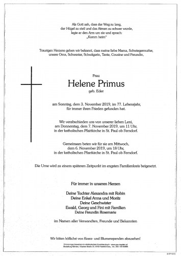 Helene Primus, geb. Eder