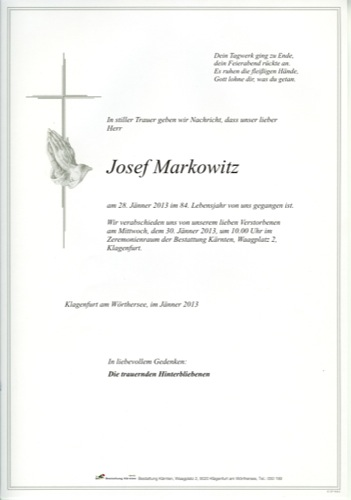 MARKOWITZ Josef