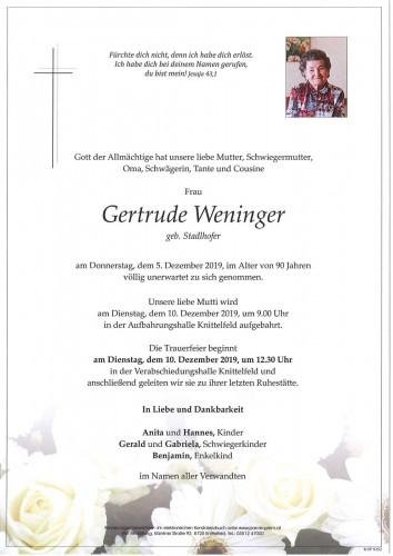 Gertrude Weninger geb. Stadlhofer