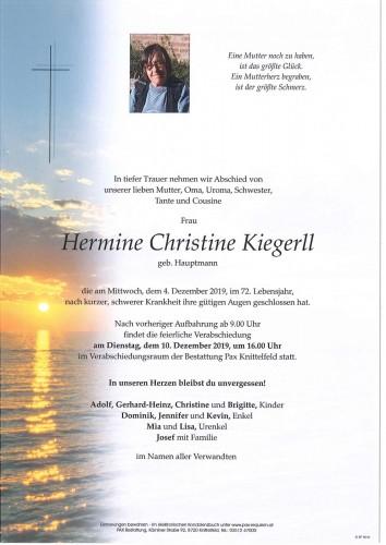 Hermine Christine Kiegerll geb. Hauptmann