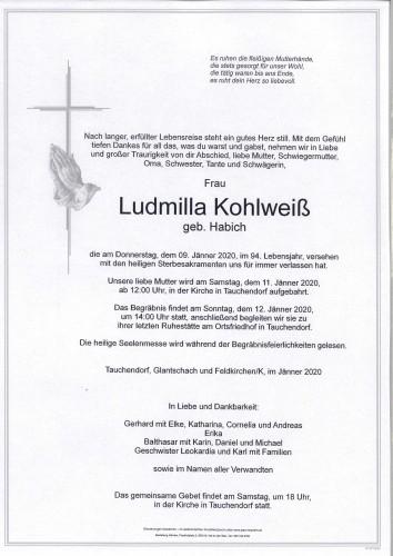 Ludmilla Kohlweiß  geb. Habich