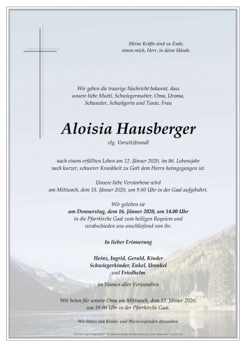 Aloisia Hausberger, vlg. Vorwitzbrandl