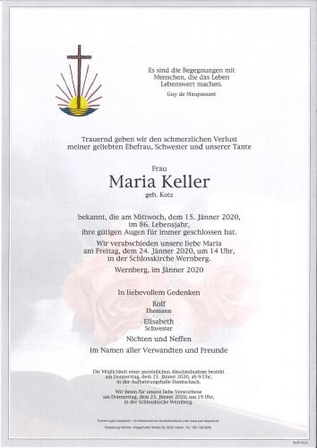 Maria Keller geb. Kotz