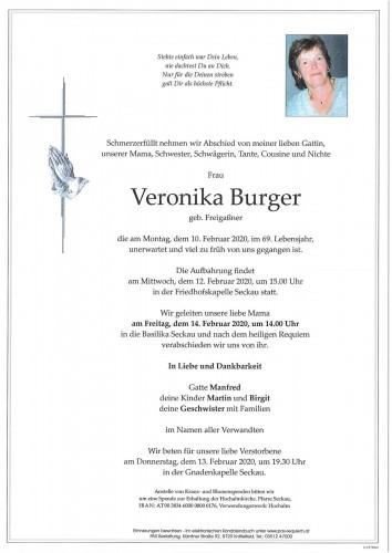 Veronika Burger geb. Freigaßner
