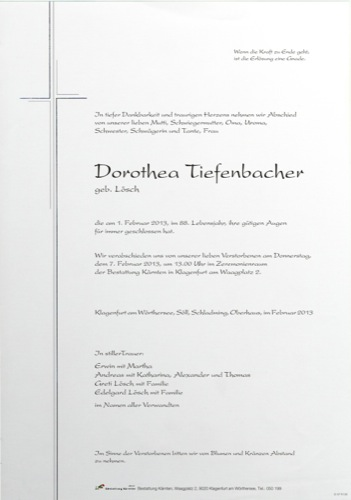 TIEFENBACHER Dorothea Maria