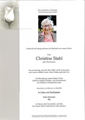 Christine Stahl, geb Hieronymus