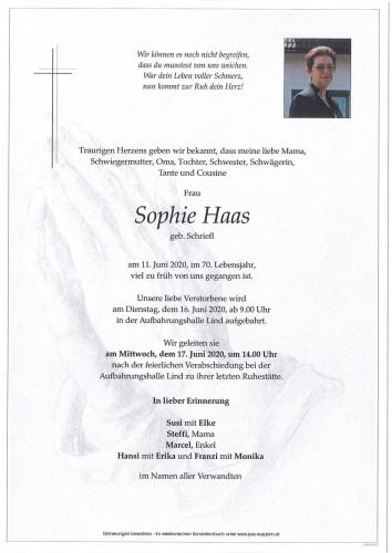Sophie Haas geb. Schriefl