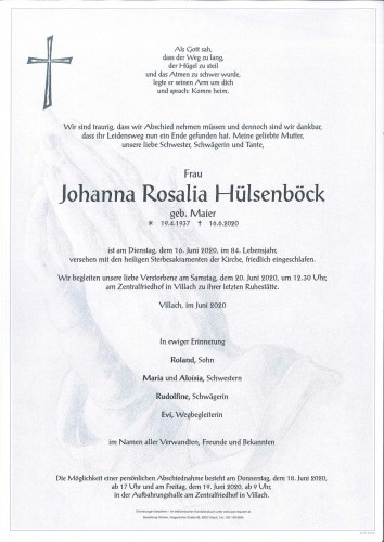 Johanna Rosalia Hülsenböck