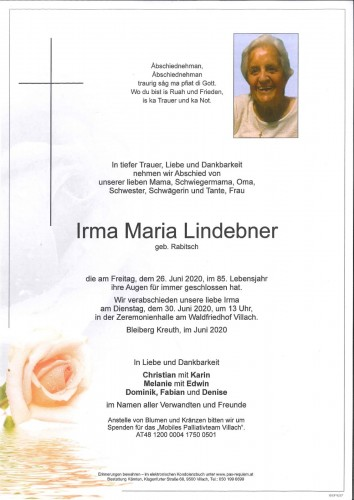 Irma Maria Lindebner geb. Rabitsch