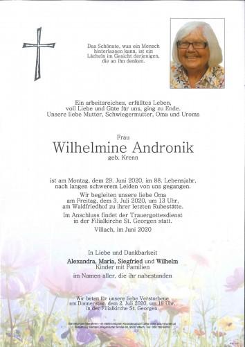 Wilhelmine Andronik geb. Krenn