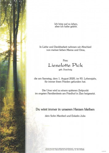Lieselotte Pick, geb. Duschnig