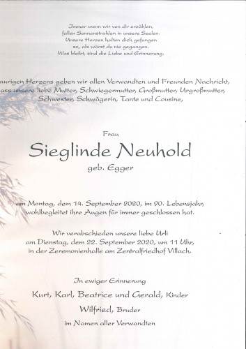 Sieglinde Neuhold, geb. Egger