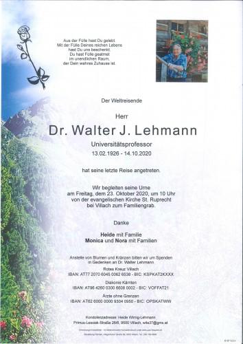 Dr. Walter J. Lehmann