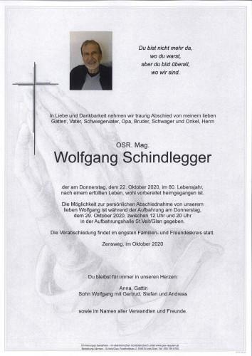OSR. Mag. Wolfgang Schindlegger