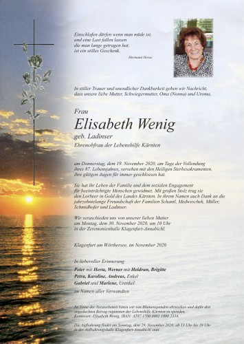 Elisabeth Wenig. geb. Ladinser