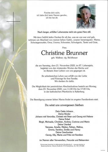 Christine Brunner, geb. Wallner, vlg. Bichlbauer