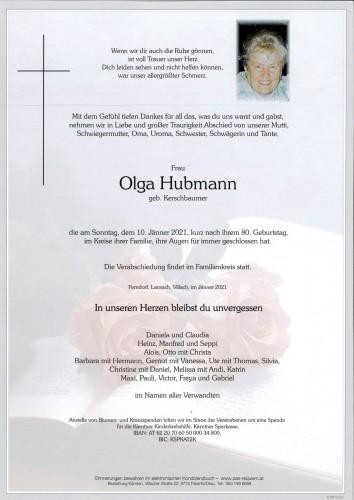 Olga Hubmann, geb. Kerschbaumer
