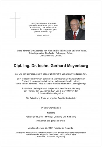 Dipl. Ing. Dr. techn. Gerhard Meyenburg
