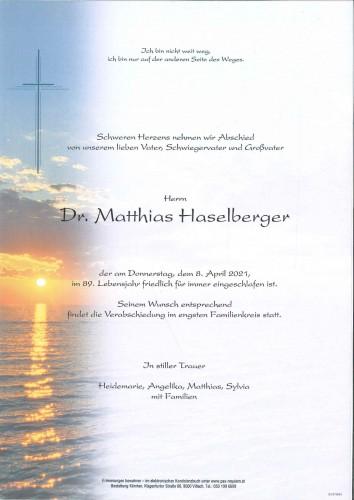 Dr. Matthias Haselberger