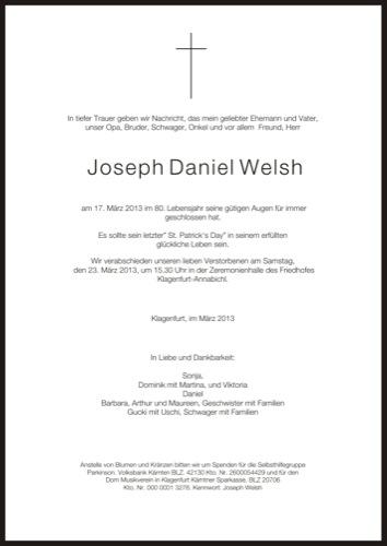 WELSH Joseph Daniel