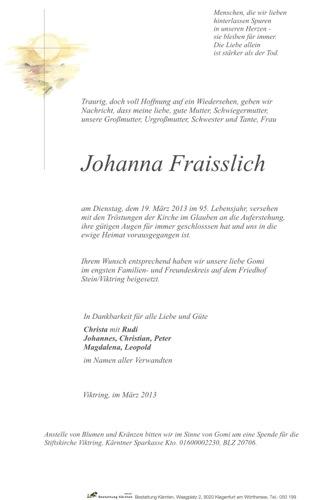 FRAISSLICH  Johanna