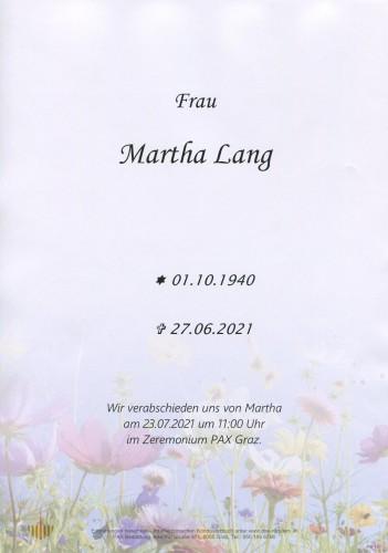 Martha Lang geb. Graf