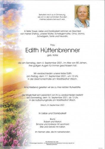 Edith Hüttenbrenner, geb. Hofer
