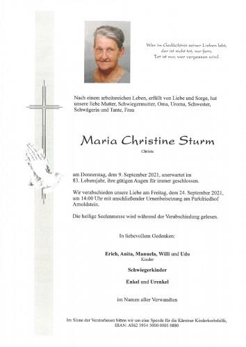 Maria Christine (Christa) Sturm