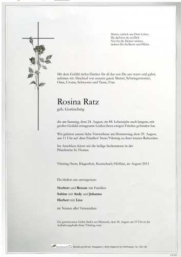 Rosina Ratz, geb. Goritschnig