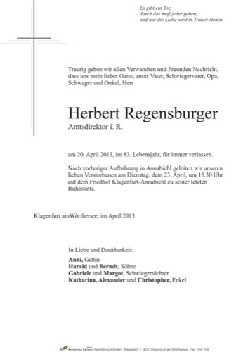 REGENSBURGER Herbert