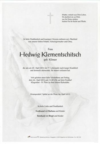 KLEMENTSCHITSCH  Hedwig