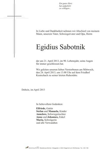 SABOTNIK Egidius